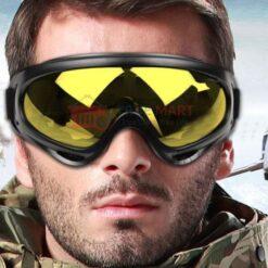 man wearing motorbike goggles