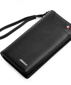 Jinbaolai Men Long Business Wallet for Money Coins Cards Zipper Pocket-1